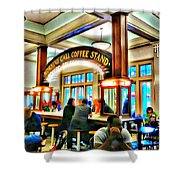 Morning Call Coffee Stand Shower Curtain
