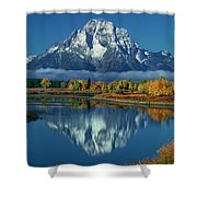 Morning Cloud Layer Oxbow Bend In Fall Grand Tetons National Park Shower Curtain by Dave Welling