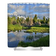Morning Clouds Over Tetons Shower Curtain