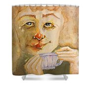 Morning Coffee Girl Shower Curtain