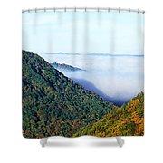 Morning Fog At Sunrise In Autumn Shower Curtain