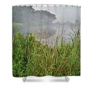 Morning Fog On Glacial Park Pond Shower Curtain