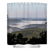 Morning Fog On Pine Mountain Shower Curtain
