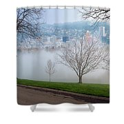 Morning Fog Over City Of Portland Skyline Shower Curtain