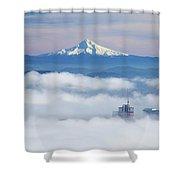 Morning Fog Over Portland Shower Curtain