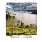 Morning Fog Over Yellowstone Shower Curtain
