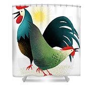 Morning Glory Rooster And Hen Wake Up Call Shower Curtain