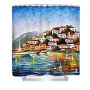 Morning Harbor - Palette Knife Oil Painting On Canvas By Leonid Afremov Shower Curtain
