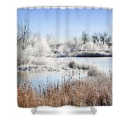 Morning Hoar Frost Shower Curtain