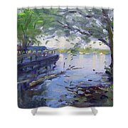 Morning Light By The River Shower Curtain