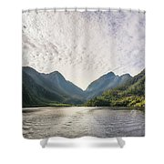 Morning Light Hitting The Docks At Doubtful Sound In New Zealand Shower Curtain