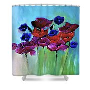 Morning Light Poppies Painting Shower Curtain