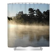 Morning Mist Glowing In Sunlight Shower Curtain