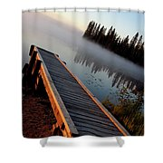 Morning Mist Over Lynx Lake In Northern Saskatchewan Shower Curtain
