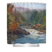 Morning Muse - Original Contemporary Impressionist River Painting Shower Curtain