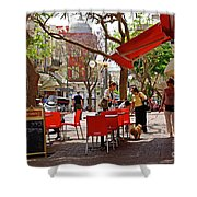 Morning On A Street In Tel Aviv Shower Curtain by Zalman Latzkovich