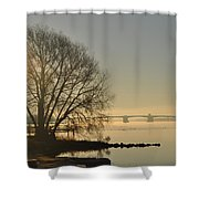 Morning On The Bay Bridge Shower Curtain