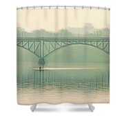 Morning On The Schuylkill River - Strawberry Mansion Bridge Shower Curtain