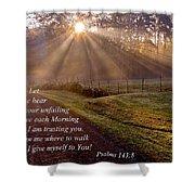 Morning Psalms Scripture Photo Shower Curtain