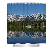 Morning Reflection Boats On Colter Bay Shower Curtain