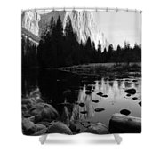 Morning Sunlight On El Cap - Black And White Shower Curtain