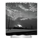 Morning Train In Black And White Shower Curtain
