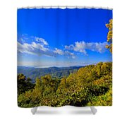 Early Fall Morning View Shower Curtain