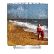 Morning Walk Along The Beach Shower Curtain