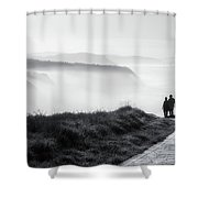 Morning Walk With Sea Mist Shower Curtain