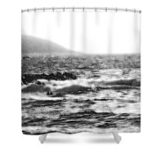 Morning Waves - Bw Diffused 04 Shower Curtain