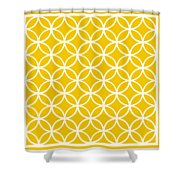 Moroccan Endless Circles I With Border In Mustard Shower Curtain