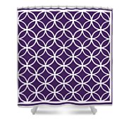 Moroccan Endless Circles I With Border In Purple Shower Curtain