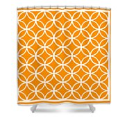 Moroccan Endless Circles I With Border In Tangerine Shower Curtain
