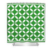 Moroccan Endless Circles II With Border In Dublin Green Shower Curtain