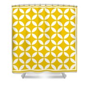 Moroccan Endless Circles II With Border In Mustard Shower Curtain