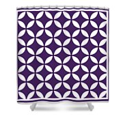 Moroccan Endless Circles II With Border In Purple Shower Curtain