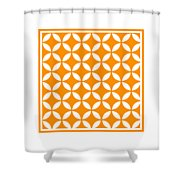 Moroccan Endless Circles II With Border In Tangerine Shower Curtain