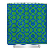 Moroccan Floral Inspired With Border In Dublin Green Shower Curtain