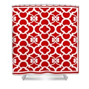 Moroccan Floral Inspired With Border In Red Shower Curtain
