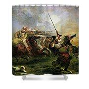 Moroccan Horsemen In Military Action Shower Curtain by Ferdinand Victor Eugene Delacroix