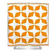 Moroccan Inlay With Border In Tangerine Shower Curtain