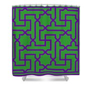 Moroccan Key With Border In Dublin Green Shower Curtain
