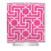 Moroccan Key With Border In French Pink Shower Curtain