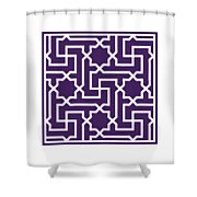Moroccan Key With Border In Purple Shower Curtain