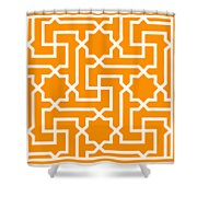 Moroccan Key With Border In Tangerine Shower Curtain