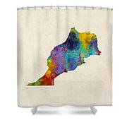 Morocco Watercolor Map Shower Curtain by Michael Tompsett