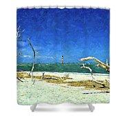 Morris Island Lighthouse 2 Shower Curtain