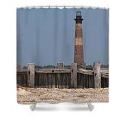 Morris Island Lighthouse Sea Wall Shower Curtain