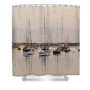 Morro Bay Boats In Early Morning Light   Shower Curtain