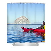 Morro Bay Kayaker Shower Curtain